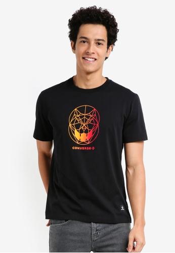 Converse 黑色 休閒印花T恤 69C70AAABC61F1GS_1