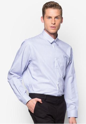 直條紋合身長袖襯衫, 服飾, 服zalora 手錶飾