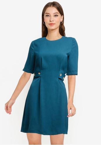 ZALORA WORK green Button Tab Mini Sheath Dress 8E299AAA834C18GS_1