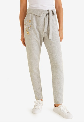 Mango grey Crystals Cotton Trousers 045A1AA36D2FFCGS_1