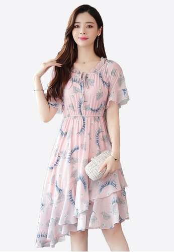 Halo pink Floral Printed Chiffon Dress 306E5AAACCF127GS_1