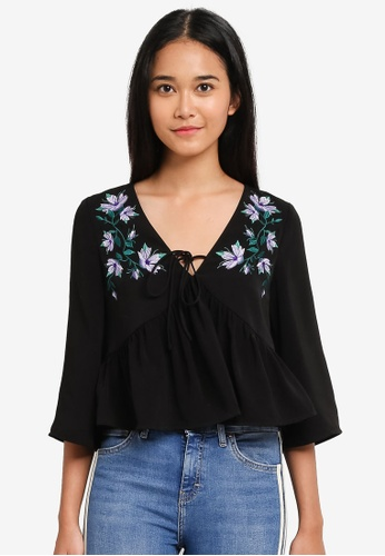 Something Borrowed black Embroidered Babydoll Top 7A09EAA5958265GS_1