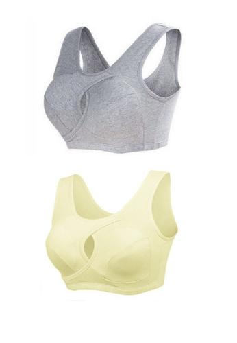 033f07577f YSoCool grey and yellow Seamless Firming Sport Sleeping Bra Light Grey  Yellow - Set of
