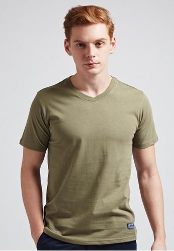 Life8 green Cotton V-Neck Tee-03634-Green LI283AA88ZYDSG_1