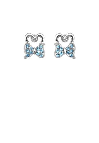 Glamorousky blue Lovely Ribbon Earrings with Blue Austrian Element Crystal D7615AC5E3609FGS_1