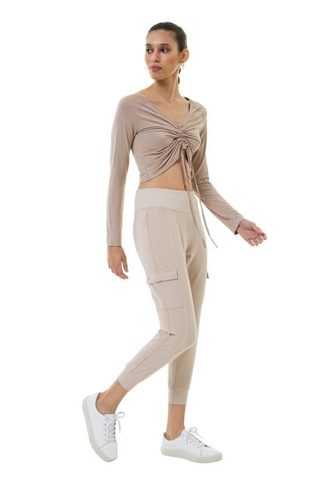 MAHA YOGI Alocasia Pleat Long Sleeve Top - Light Beige
