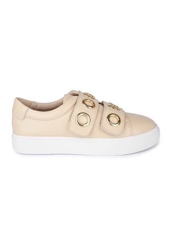 MAUD FRIZON beige Cow Leather Sneaker With Double Velcro Straps 39F76SHCE389A8GS_1