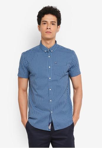 Superdry 藍色 短袖格紋牛津襯衫 9A96CAA32A104AGS_1