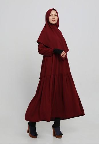 Anggiasari Mawardi red Navya Dress Syar'i plain (maroon) E14F8AA972139EGS_1