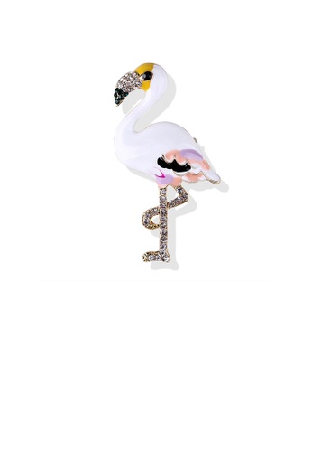 Glamorousky white Simple and Fashion Plated Gold Enamel White Flamingo Brooch with with Cubic Zirconia BBB40AC33619B4GS_1