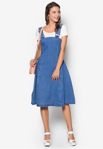彈性丹寧吊帶連身裙, 服esprit hk store飾, 洋裝
