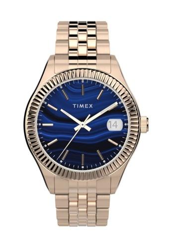 TIMEX blue and gold Timex Waterbury Legacy 34mm - Gold-Tone Case & Bracelet (TW2T87300) 483F6AC30B92A3GS_1