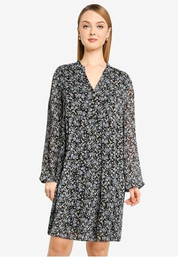 Vero Moda black Lilo Long Sleeves V-neck Dress 2A340AAF77CFA5GS_1