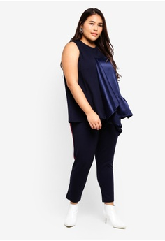 2f6454a224e 69% OFF LOST INK PLUS Sleeveless Top With Satin Frill S  57.90 NOW S  17.90  Sizes 44 46 48