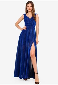 9cff1b36 Goddiva blue Cross Over Sleeveless Maxi Dress With Split Hem  0E968AA5A5F1A8GS_1