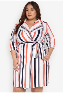 228f67219cb42 Plus Size Striped Wrap Dress With Belt B0FCBAAC357F20GS 1 Madelaine  Ongpauco Barlao ...