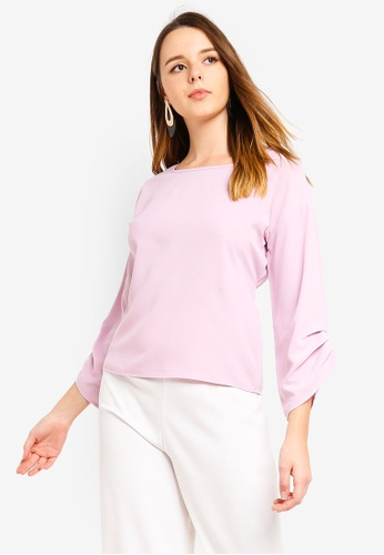 ZALORA purple Ruched Sleeves Top E4ADFAA5BF5EFFGS_1