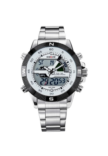 Weide white and silver Weide WH 1104G Men's Dual Time Sport Analog Digital Back Light Watch (Silver White) WE079AC70RKRMY_1
