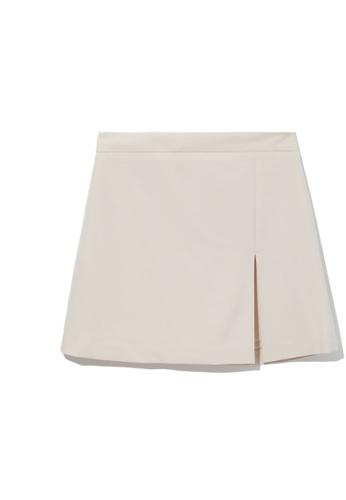 b+ab beige Front slit mini skirt C09E5AA3EB663EGS_1