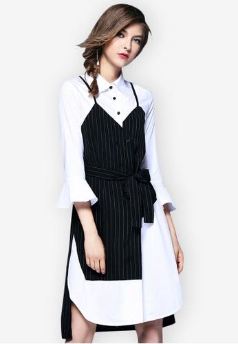 Sunnydaysweety multi 2018 Spring New Fake Two-Piece Shirt Dress 285D8AAECE74FFGS_1