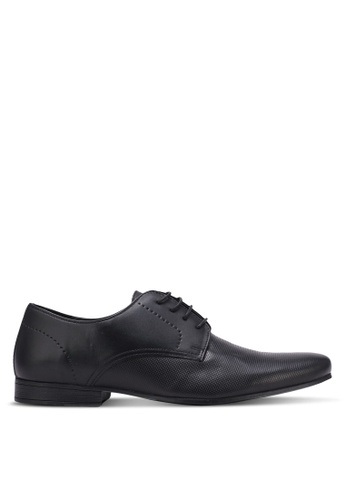 Topman brown Black Leather 'Brisk' Circle Derby Shoes TO413SH0S7YJMY_1