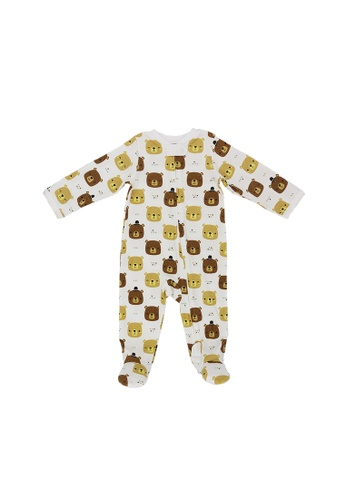 Baby Lovett white Bear Hugs Two-Way Zipper Suit With Footies 4CFD3KADABF55AGS_1