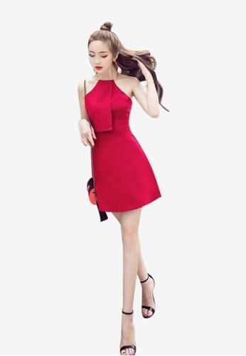 Lara red Back zipper fasten One piece Dress FB82FAAA88F56DGS_1