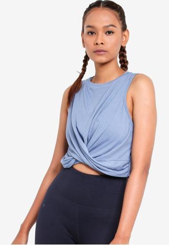 Cotton On Body 藍色 羅紋扭結短版背心 3A710AAE1C5F6BGS_1
