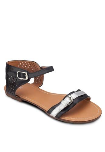 沖孔踝帶esprit專櫃平底涼鞋, 女鞋, 涼鞋