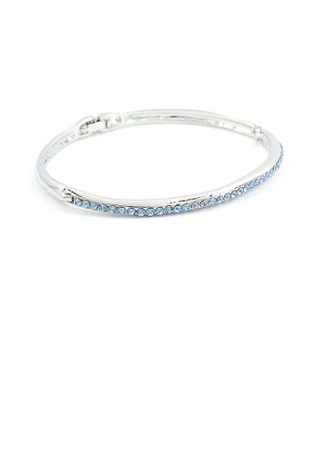 Glamorousky blue Elegant Bangle with Blue Austrian Element Crystals C06CCACCA00DD1GS_1