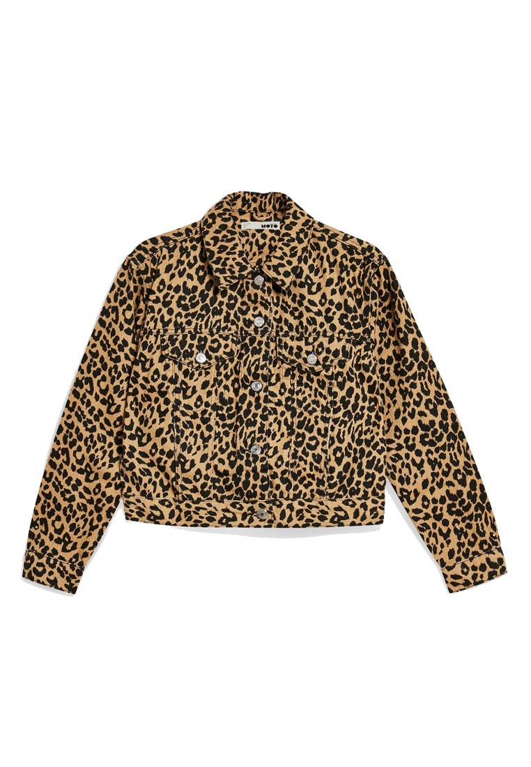 Jacket Fitted TOPSHOP Tan Denim Leopard wOO7a