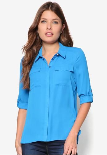 Petite Blue Roll Sleeve Shirt, 服飾, 襯zalora 心得 ptt衫