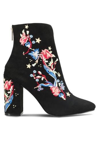 Miss Selfridge 黑色 Athens 刺繡粗跟高跟短靴 MI665SH45TTYMY_1
