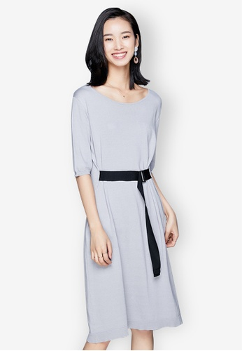 Sunnydaysweety grey Temperament New Belted Knit One Piece Dress 46CD2AA183929AGS_1