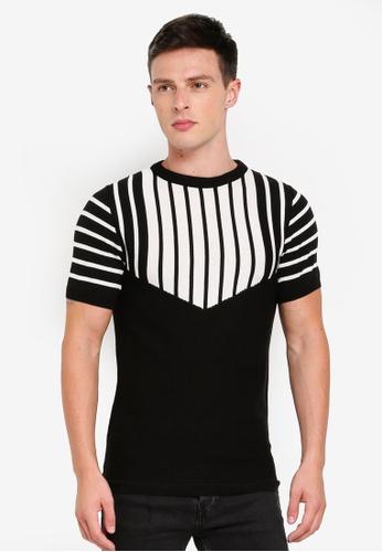 River Island 黑色 斜紋條紋針織T恤 5CBF4AAAEC2708GS_1