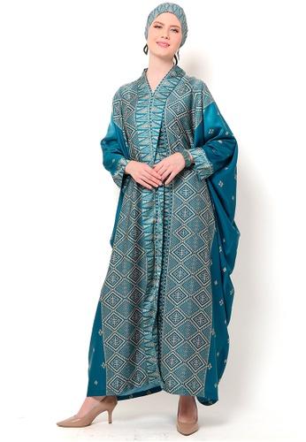 Kanzi by liza yahya blue Kanzi Exclusive Long Sleeve Songket Kaftan 2DC50AA8F97455GS_1