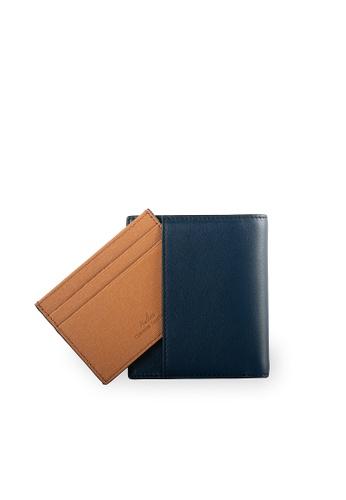 Samuel Ashley navy Warren Vertical Wallet w/ Detachable Card Holder (RFID) - Navy B97D7AC696E037GS_1
