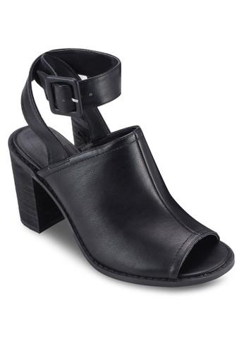 Jarrah 扣環繞踝粗跟露趾高跟鞋, 女鞋, esprit 會員鞋