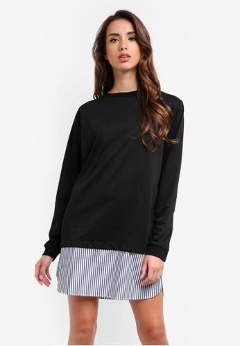 MISSGUIDED black Long Sleeve Shirt Hem Sweater Dress 6528FAA87228CFGS_1