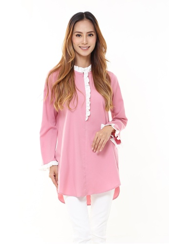 Rina Nichie Basic pink Jane Ruffle Tunic in Pink 40A09AAE7B7407GS_1