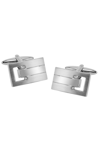 CUFF IT silver Shiny and Brushed Silver Vented Cufflinks CU047AC2UXSMHK_1