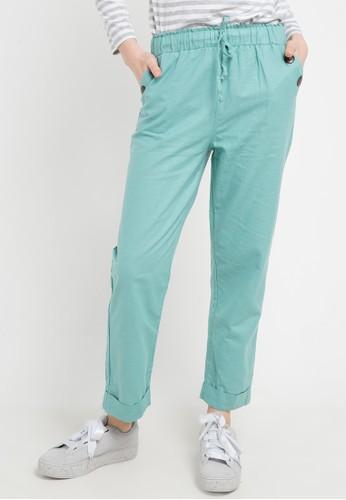 ZAHRA SIGNATURE green Longpant Linen Rami Button 0FFD3AA8080C23GS_1