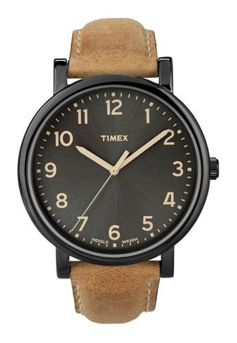 TIMEX brown Timex Originals Oversized - Tan/Black  Leather TI857AC28WMHSG_1
