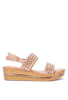 2c9744fad Mendrez pink Ella Ankle Strap Wedge Sandals 849C0SH553236AGS_1