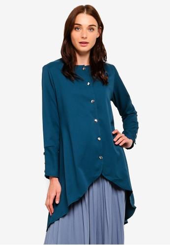BYN green Button Up Puffed Long Sleeve Top 457A2AA4B93F7DGS_1
