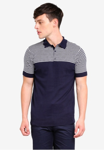 Brave Soul navy Jacquard Knitted Polo Shirt 52BE3AAB80C274GS_1
