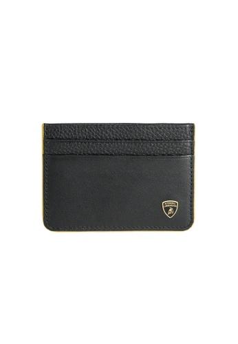 LAMBORGHINI black Automobili Lamborghini® Garage Black Calf Leather Wallet and Credit Cards holder 08E41ACC964FEFGS_1