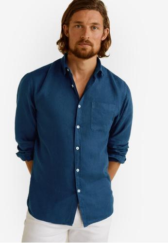Mango Man 藍色 Linen Regular Fit Shirt 13940AA0EC6B2BGS_1