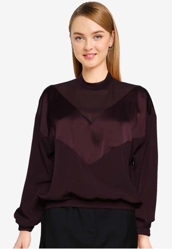 French Connection brown Erla Mixed Chevron Top 5D8C0AA561836EGS_1