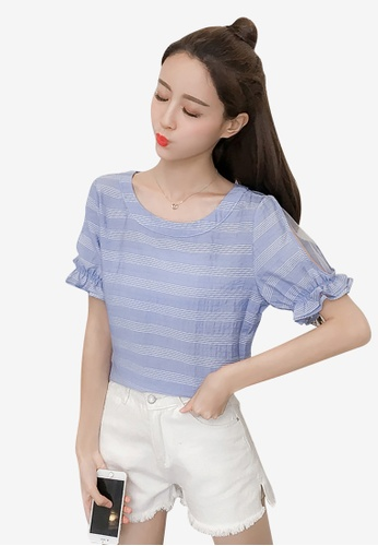 hk-ehunter white and blue Stripe Patterned Blouse with Frills and Mesh 398F8AA98241B0GS_1